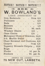 Advert for W Bowland's furniture shop